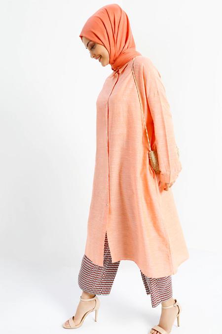 Refka Turuncu Doğal Kumaşlı Düğmeli Tunik