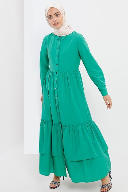 Refka Yeşil Boydan Düğmeli Volanlı Elbise