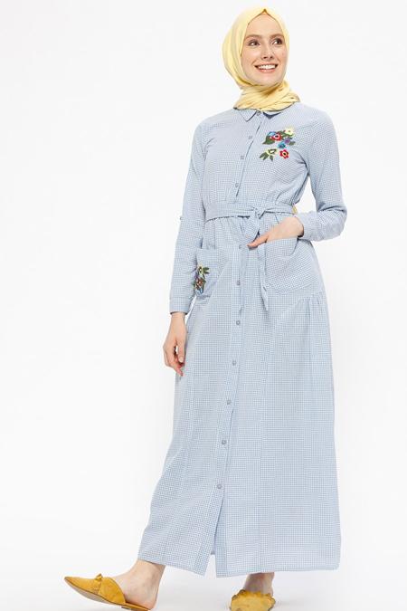 SUEM Mavi Beli Lastikli Pötikareli Elbise