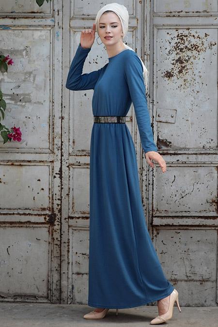 Selma Sarı Design İndigo Gamze Elbise