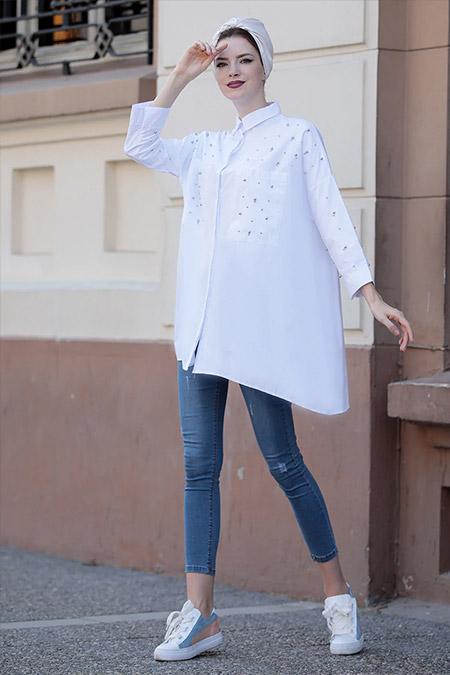 Selma Sarı Design Beyaz Cotton İnci Tunik