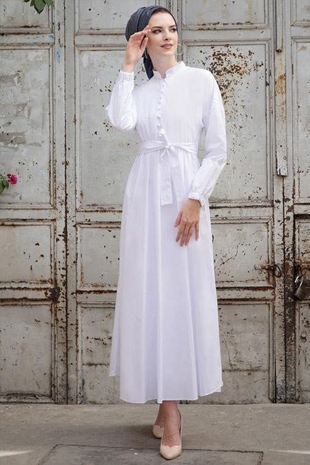 Selma Sarı Design Beyaz Cotton Elbise