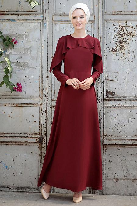 Selma Sarı Design Bordo Omuz Fırfır Detaylı Elbise