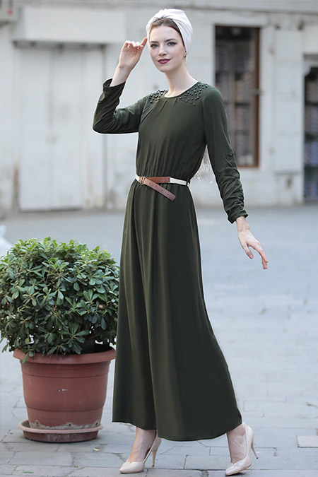 Selma Sarı Design Haki Önü İncili Elbise