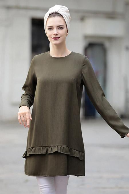 Selma Sarı Design Haki Eteği Fırfırlı Tunik