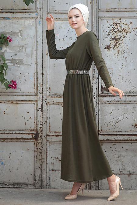 Selma Sarı Design Haki Gamze Elbise