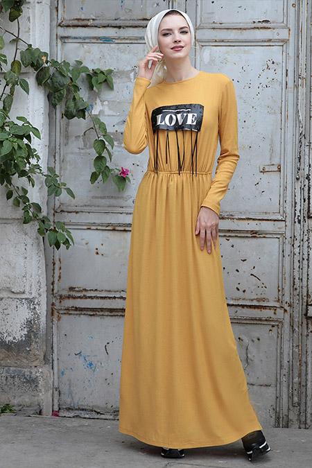 Selma Sarı Design Hardal Mery Elbise