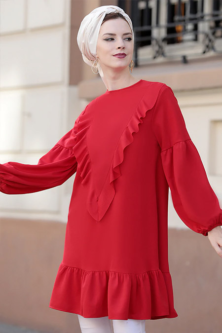 Selma Sarı Design Kırmızı Büzgülü Lastikli Tunik