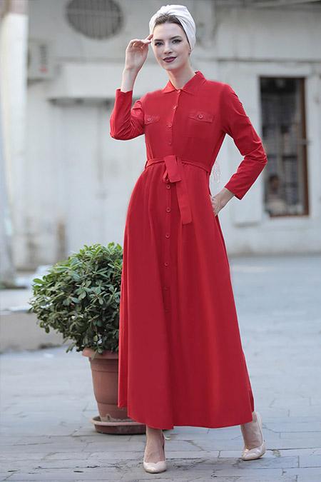 Selma Sarı Design Kırmızı Cepli Spor Elbise