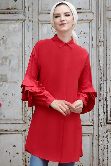 Selma Sarı Design Kırmızı Kol Detaylı Fırfır Tunik