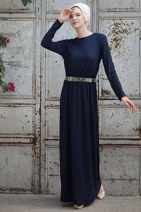 Selma Sarı Design Lacivert Gamze Elbise
