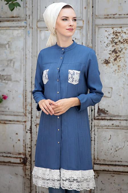 Selma Sarı Design Mavi Melisa Tunik