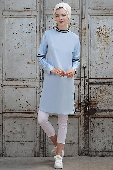 Selma Sarı Design Mavi Volan Tunik