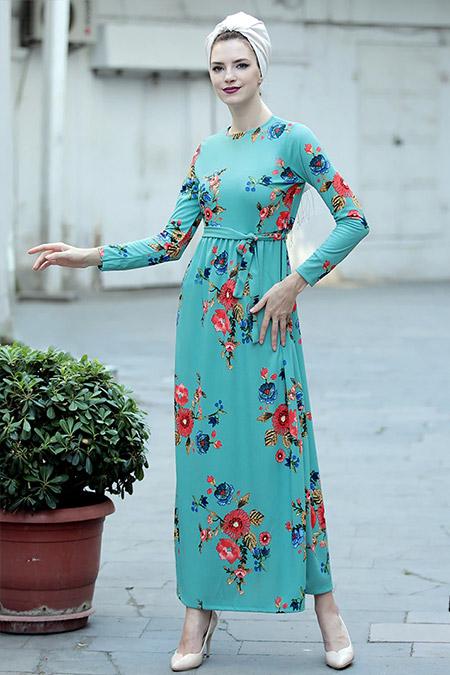 Selma Sarı Design Mint Gonca Elbise