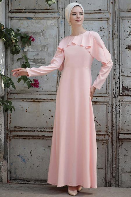 Selma Sarı Design Pudra Omuz Fırfır Detaylı Elbise