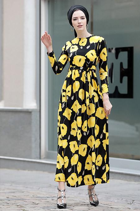 Selma Sarı Design Sarı Gonca Elbise