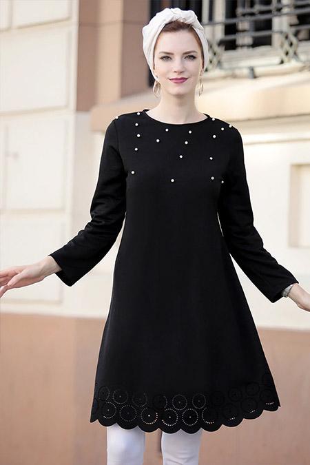 Selma Sarı Design Siyah Eteği Lazer Kesim Tunik