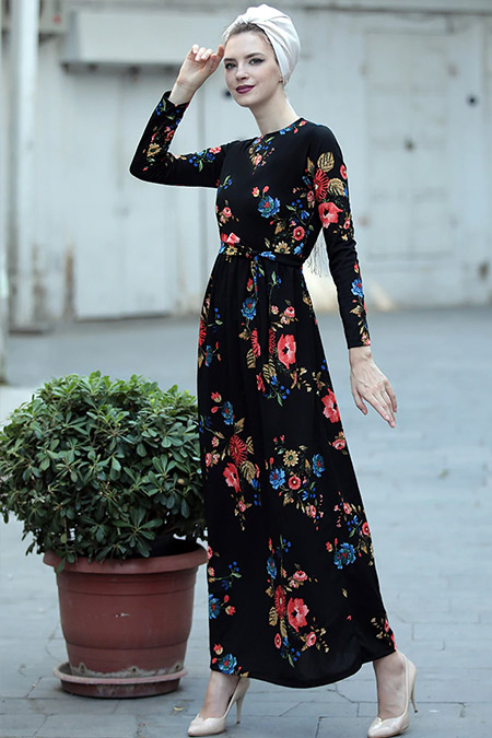Selma Sarı Design Siyah Nar Çiçeği Gonca Elbise