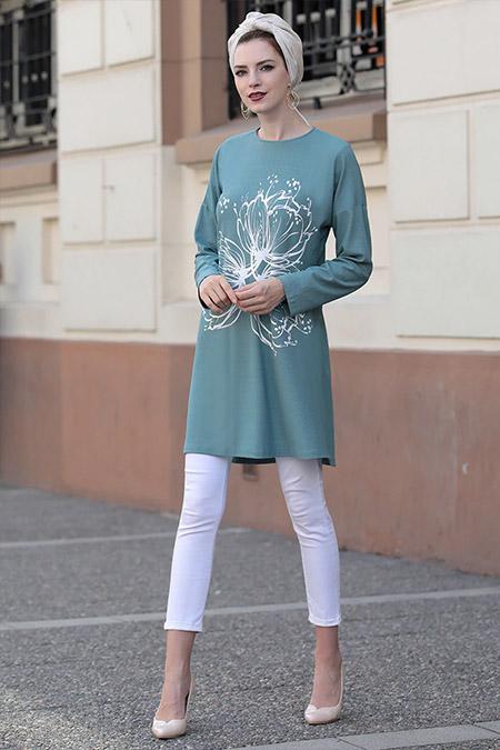Selma Sarı Design Su Yeşili Mery Tunik