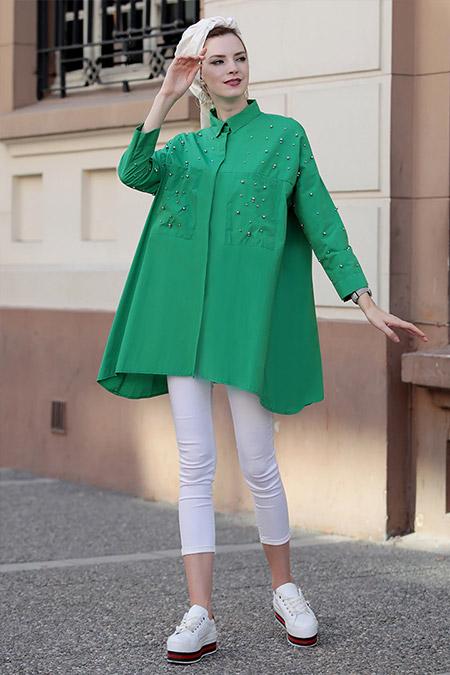 Selma Sarı Design Yeşil Cotton İnci Tunik