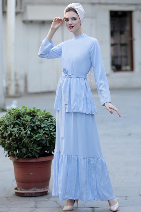Selma Sarı Design Bebe Mavi Vintage Elbise