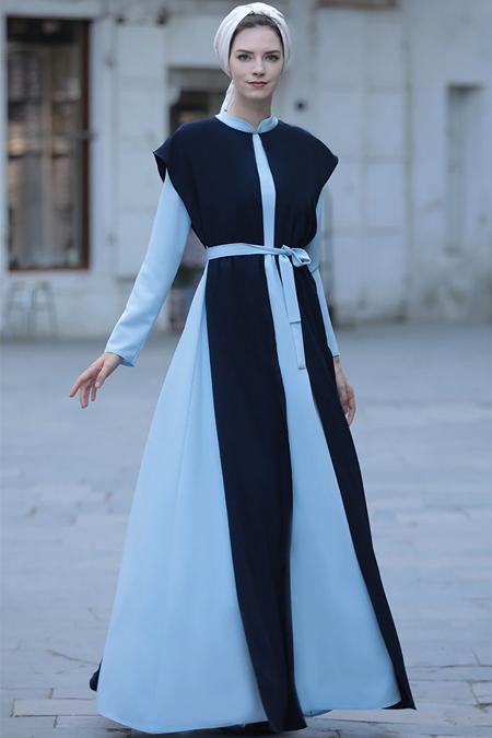 Selma Sarı Design Bebe Mavisi Helen Elbise