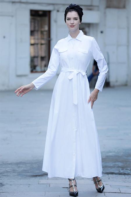 Selma Sarı Design Beyaz Cepli Spor Elbise