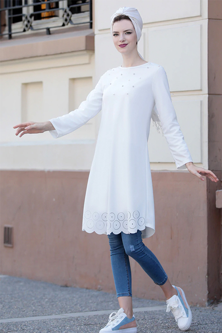 Selma Sarı Design Beyaz Eteği Lazer Kesim Tunik
