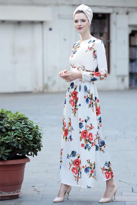 Selma Sarı Design Beyaz Gonca Elbise