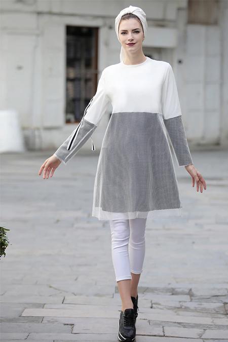 Selma Sarı Design Beyaz Gri File Detaylı Salaş Tunik