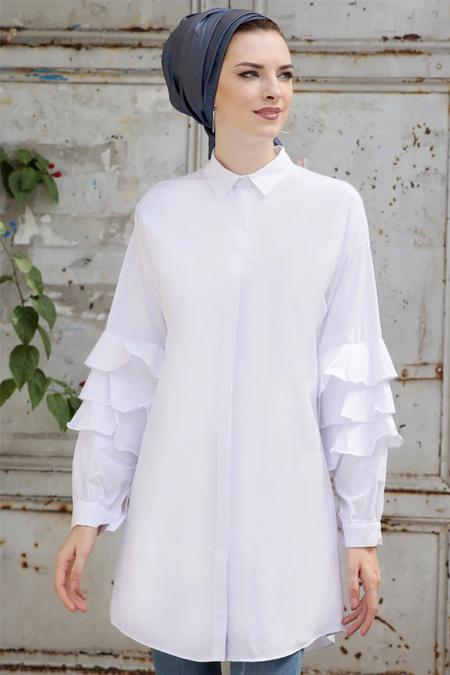 Selma Sarı Design Beyaz Kol Detaylı Fırfır Tunik