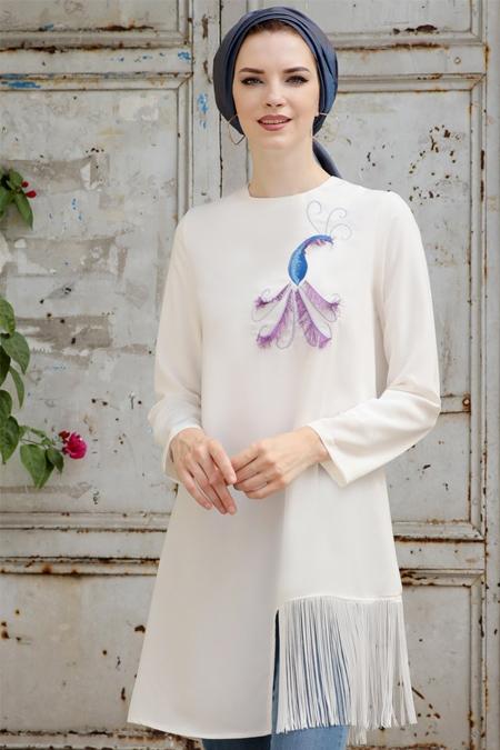 Selma Sarı Design Beyaz Peahen Tunik