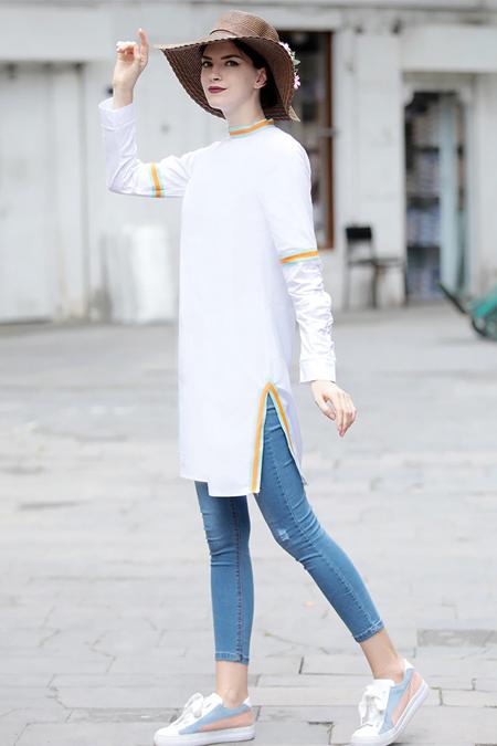 Selma Sarı Design Beyaz Volan Tunik