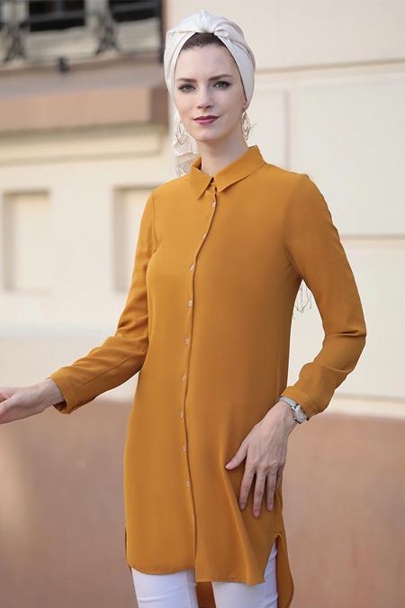 Selma Sarı Design Hardal Basic Tunik