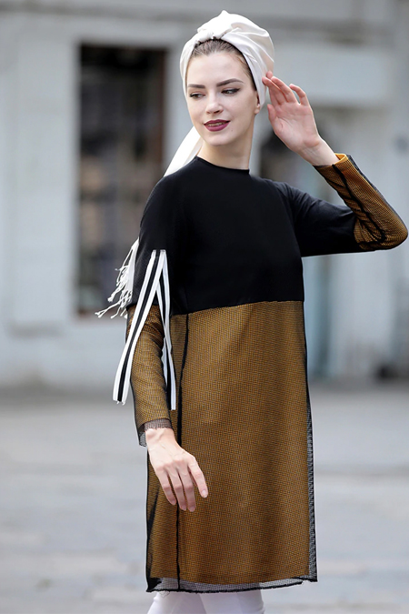 Selma Sarı Design Hardal Siyah File Detaylı Salaş Tunik