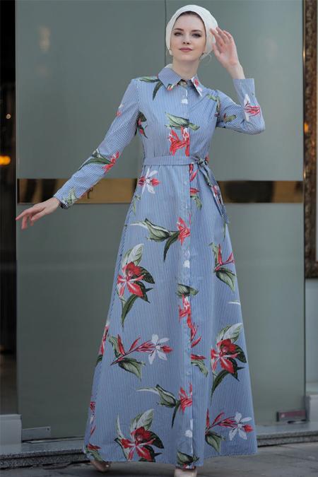 Selma Sarı Design Mavi Yaprak Elbise