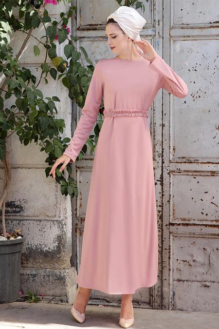 Selma Sarı Design Pudra Basic Kemerli Fırfırlı Elbise