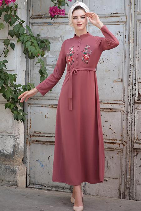 Selma Sarı Design Pudra Nakışlı Elbise
