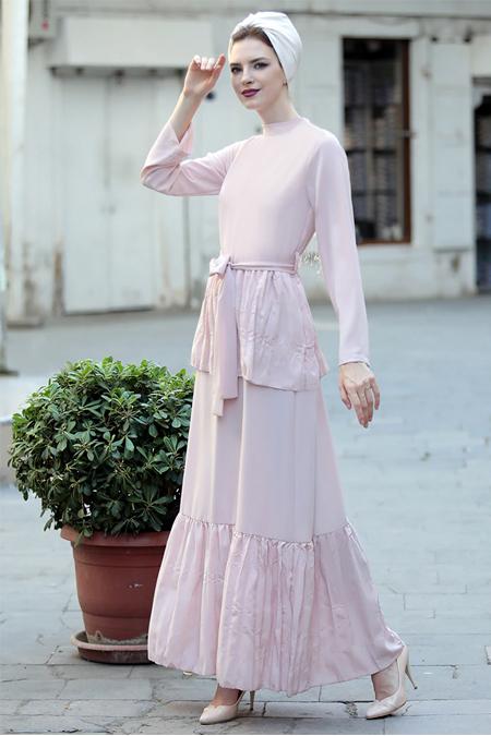 Selma Sarı Design Pudra Vintage Elbise