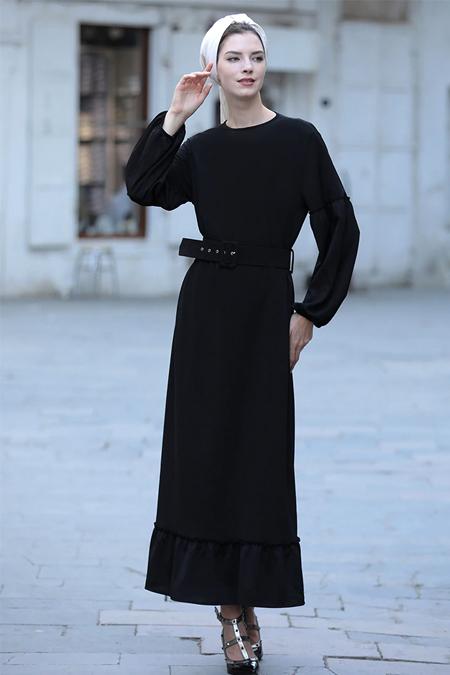 Selma Sarı Design Siyah Kemerli Mira Elbise