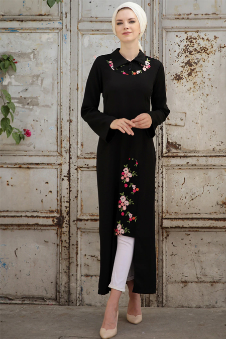 Selma Sarı Design Siyah Line Tunik