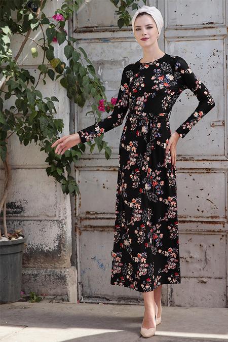 Selma Sarı Design Siyah Mavi Lale Elbise