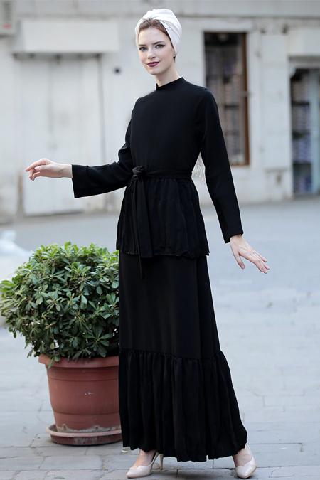Selma Sarı Design Siyah Vintage Elbise