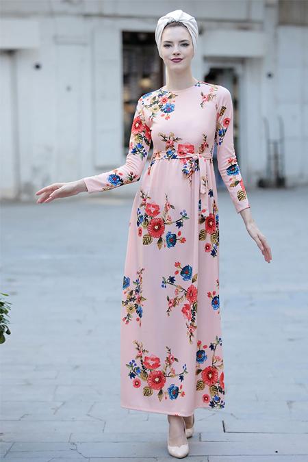 Selma Sarı Design Somon Gonca Elbise