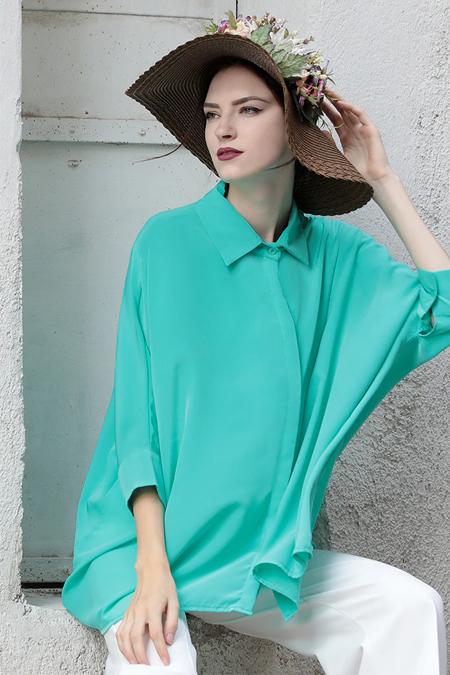 Selma Sarı Design Yeşil Gömlek Tunik