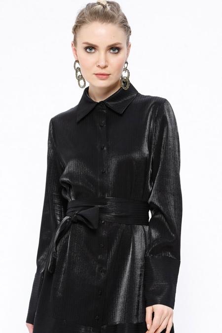 Store Wf Siyah Kendinden Çizgili Gömlek Yaka Elbise