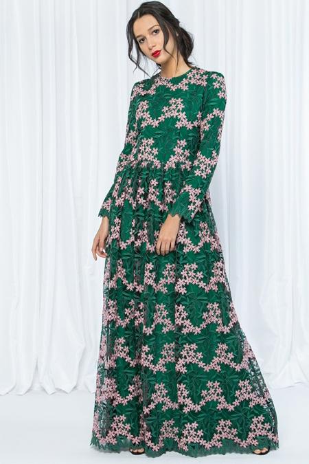 Store Wf Yeşil Pembe Çiçek Desenli Elbise