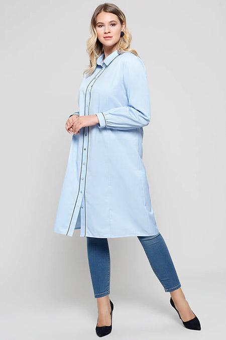 Alia Bebe Mavi Doğal Kumaşlı Düğmeli Tunik