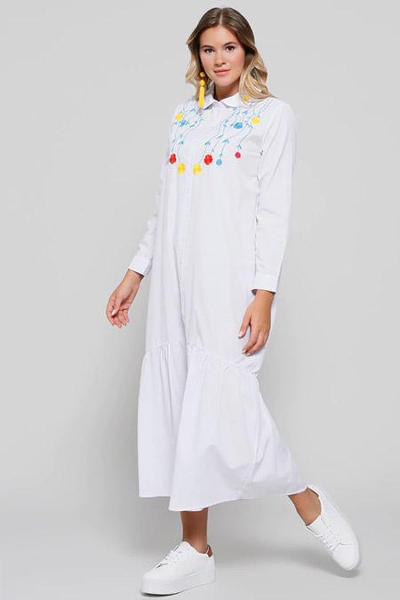Alia Beyaz Boydan Düğmeli Nakışlı Elbise