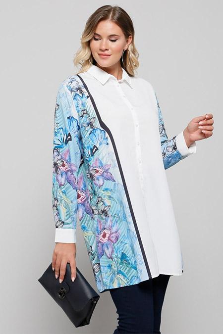 Alia Beyaz Mavi Desenli Tunik